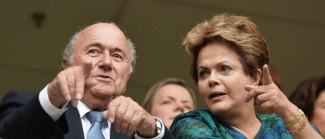 BRASILIA, BRAZIL - JUNE 15:  FIFA President Sepp Blatter (l) looks on with the President of Brazil Dilma Rousseff prior to the FIFA Confederations Cup Brazil 2013 Group A match between Brazil and Japan at National Stadium on June 15, 2013 in Brasilia, Brazil.  (Photo by Buda Mendes - FIFA/FIFA via Getty Images)