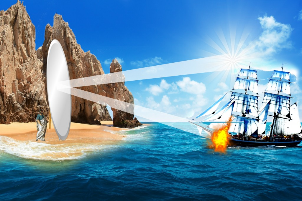 Archimedes-Mirror-solar-burnning-ship